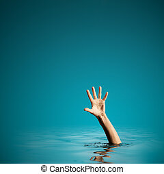 Hand on sea water background asking for help. Failure and...