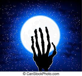 hand on the background of the moon