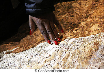 Hand on the Stone in the Church of All Nations . Jerusalem. Israel