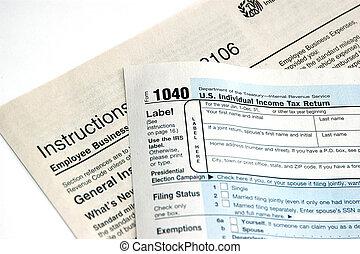 hand ondertekening, een, aangiftebiljet, concept, van, indiening, belasting