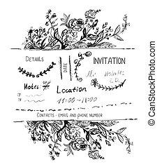 hand, ontwerp, uitnodiging, getrokken, randjes, bloemen
