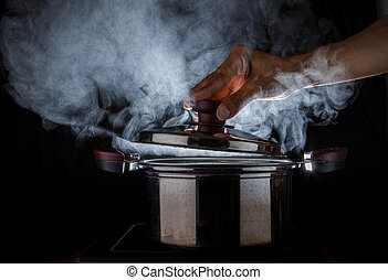 hand open hot steam pot