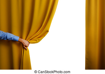 hand open yellow curtain