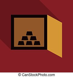 Hand opening a safe deposit box full of valuables gold. Flat style illustration. EPS 10 vector.