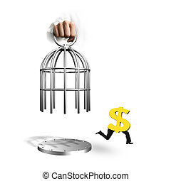 Hand opening cage and dollar sign with human legs running