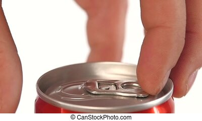 Hand opening can, on white, slow motion