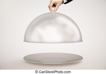 Hand opening cloche light background
