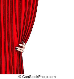 Hand opening red folded curtain, white background