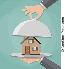 Hand opens serve cloche with house inside. present concept. vector illustration in flat design on green background