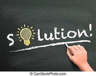 hand, oplossing, woord, geschreven