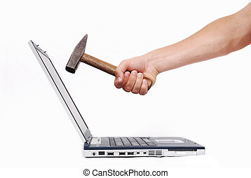 Hand over laptop about to crash it