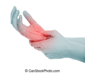 Hand pain - A picture of a female palm in pain over white...