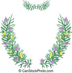 Hand paint frame of watercolor flowers vector