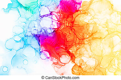 Hand painted alcohol ink art, bright abstract colorful backgound.