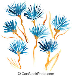 Hand Painted blue watercolor flowers isolated on white background