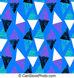 Hand painted bold pattern with triangles - Grunge hand ...