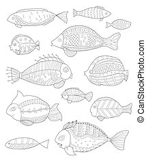 hand painted collection of fish, Page coloring for adults,...