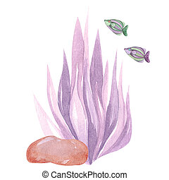 Hand-painted composition of sea coral purple brown stone fish on a white background Watercolor illustration of the underwater world