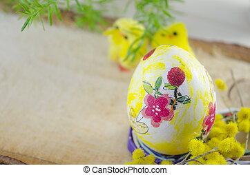 Hand painted decoupage Easter egg on a stand