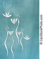hand painted flower design on blue textured background