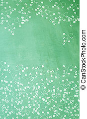 hand painted flower design on green textured background