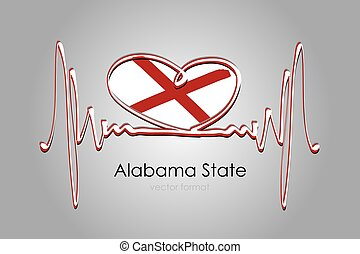 Hand painted heart and Alabama State Flag in Vector Format