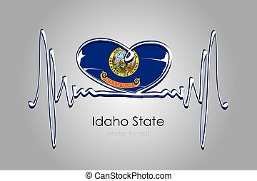 Hand painted heart and Idaho State Flag in Vector Format