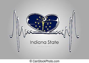 Hand painted heart and Indiana State Flag in Vector Format
