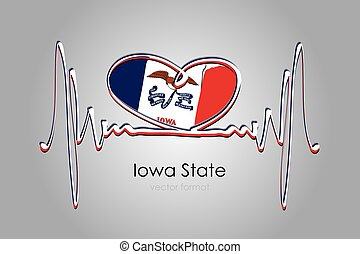 Hand painted heart and Iowa State Flag in Vector Format