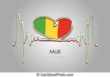 Hand painted heart and Mali Flag in Vector Format