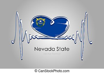 Hand painted heart and Nevada State Flag in Vector Format