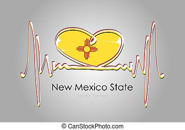 Hand painted heart and New Mexico State Flag in Vector Format