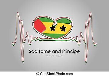 Hand painted heart and Sao Tome and Principe Flag in Vector Format
