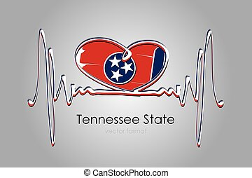 Hand painted heart and Tennessee State Flag in Vector Format