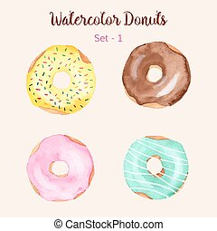 Hand painted isolated watercolor donuts - Watercolor donut...