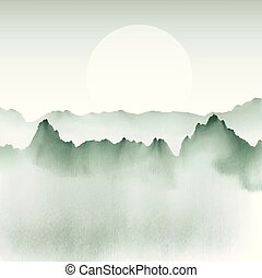 hand painted mountain landscape 1105