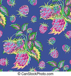 Hand painted pattern of bright colorful raspberry on blue backdrop. Fruit seamless background for menu and desserts, restaurants and cafes, wallpaper etc.