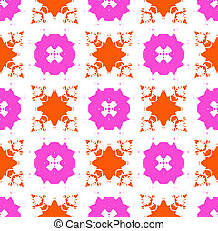 Vector seamless bold hand painted pattern with bold ornamental ethnic motifs in bright variety of colors like pink, orange and white