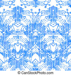 Hand painted pattern with damask and ikat motifs - Vintage...