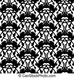 Hand painted pattern with thick inkblot. - Black and white...