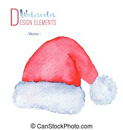 Hand painted Santa Claus red hat - Hand painted watercolor...