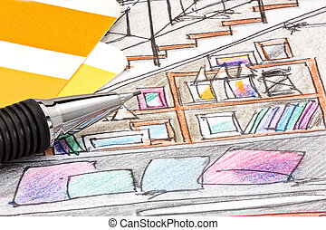 hand painted sketch of living room interior design with color samples and pencil