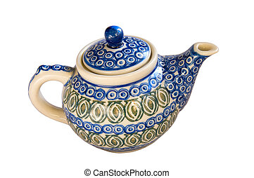 Hand Painted Teapot Dish on White Background - Hand painted ...