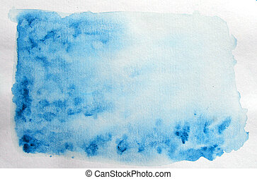 Hand painted watercolor abstract background with copy cpace for text. Aquarelle painted paper textured canvas for vintage design, invitation card, template. Sky shades simple blue color illustration.