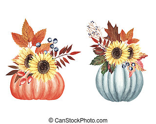 Hand painted Watercolor Autumn Bouquet set with leaves, berries, flowers in pumpkins isolated on white background.