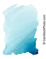 Turquoise blue watercolor background hand painted on white