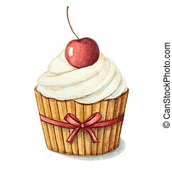 watercolor cherry muffin - Hand painted watercolor cherry...