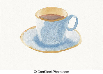 hand painted watercolor of teacup and saucer - hand painted...