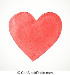 Hand painted watercolor paint heart on white background