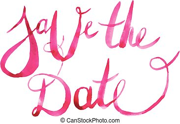 Watercolor Save the Date Calligraphy Script